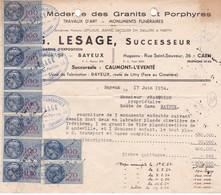 33-T.F  Série Unifiée  N° 164 & N°168 X 9 G.Lesage Bayeux (Calvados) 1954 - Steuermarken