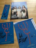 LA FLOR, Mariano Llinas : 2 Plaquettes (4 & 8 Pages), 1 Carte Postale (20x40 Cm) & 1 Marque Pages (20x7 Cm) - Non Classificati