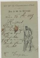 MENU Du 20è Bataillon De Chasseurs à Pied 1825 - Menükarten