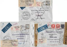 Env. (3) Paris Pour Irlande, Argentine Et Maroc 1943 - Guerre