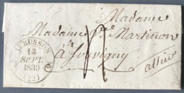 France Lettre De AUBUSSON (type 12) - 1839 - - Marcophilie (Lettres)