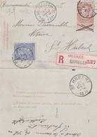 DDX 132 - Carte-Lettre Fine Barbe + TP Dito - Recommandé BRUXELLES 3 , Cachet Transit BRUXELLES 3.10 , Vers ST HUBERT - Cartas-Letras