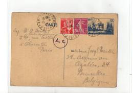 B10  15 05 1940 Entier Postal Censuré Pour La Belgique + Complément D'affranchissement - Marcophilie (Lettres)