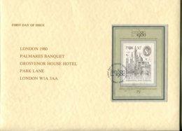 Great Britain Mi# Block 3 FDC - Palmares Banquet Includes A Menu Card (8 Pages) - FDC