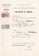 92-T.F  Sériie Unifiée N° 113 & De Dimension N°99 Publication De Mariage Neuilly-sur-Seine 1933 - Steuermarken