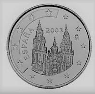 MONNAIE ESPAGNE 1 Cent 2003 Euro Fautée Non Cuivrée Etat Superbe - Variétés Et Curiosités