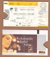 AC -  TURKEY Vs ENGLAND UEFA 2004 FOOTBALL - SOCCER TICKET 11 OCTOBER 2003 - Eintrittskarten