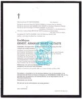 DB Heemkundige Oudkrijgsgevangene 14-18 Ere Majoor Ernest De Taeye ° Oostende 1890 † 1974 X M. Vd Walle Xx N. Snijkers - Obituary Notices