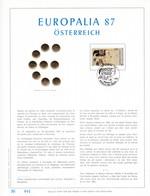 Exemplaire N°001 Feuillet Tirage Limité 500 Exemplaires Frappe Or Fin 23 Carats 2247 Europalia 87 österreich Autriche - Hojas