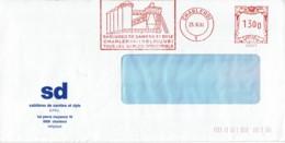 """1986 - CHARLEROI - Empreinte Machine à Affranchir """"SABLIÈRE DE SAMBRE ET DYLE - TOUS LES SABLES INDUSTRIELS"""" - - Maschinenstempel"""