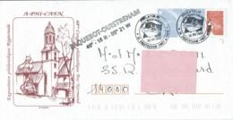 """2002 - Cachet Temporaire - Lancement Du Ferry """"Mont Saint Michel"""" à Ouistreham - Griffe De Position Du Port - Cachets Commémoratifs"""