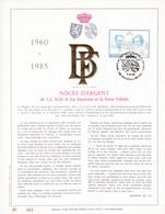 Exemplaire N°001 Feuillet Tirage Limité 500 Exemplaires Frappe Or Fin 23 Carats 2198 Roi Baudoin Reine Fabiola Noce - Panes