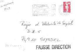 Lettre Fausse Direction Griffe Linèaire Apposée Le 5-3 1991 à 74 Frangy - Marcophilie (Lettres)