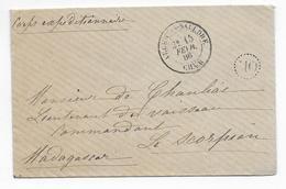 """1886 - CORPS EXPEDITIONNAIRE De MADAGASCAR -  ENVELOPPE En FRANCHISE => NAVIRE De GUERRE """"LE SCORPION"""" - Marques D'armée (avant 1900)"""