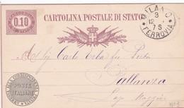 ITALIA - REGNO - MILANO - INTERO POSTALE  SERVIZIO DI STATO 0,10 C. - VIAGGIATO PER PALLANZA ( VERBANIA) - 1861-78 Vittorio Emanuele II