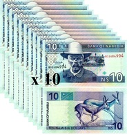 NAMIBIA 10 Namibia Dollars ND ( 2001 ) P 4 C UNC X 10 Banknotes - Namibie