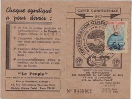 75 Paris 75010 Carte Confederale CGT Annee 1947 - District 10