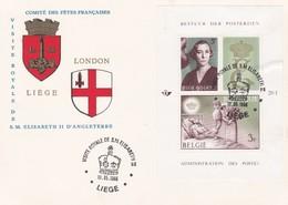 Feuillet 1365 1366 Bloc 41 Comité Des Fêtes Françaises London Liège Visite S.M. Elisabeth II D' Angleterre - Panes