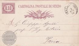 ITALIA - REGNO - CASALMAGGIORE  (CREMONA) - INTERO POSTALE  SERVIZIO DI STATO 0,10 C. - VIAGGIATO PER PAVIA - 1861-78 Vittorio Emanuele II