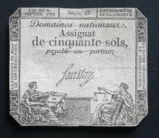 ASSIGNAT De 50 SOLS  - 4 Janvier 1792 - Sigature De Faussay Série 43 - (1) - Assignats