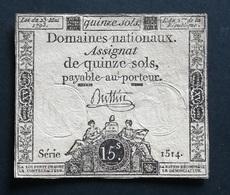ASSIGNAT De 15 SOLS  - 23 Mai 1793 - Sigature De Buttin Série 1514 - (1) - Assignats