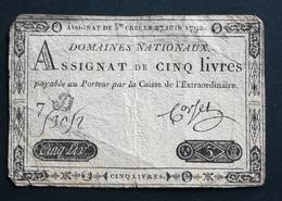 ASSIGNAT De 5 Livres  - 27 Juin 1792 - Sigature De Cover - Assignats