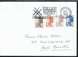 """Fr -1989 """"Foire Internationale De La Réunion St Denis"""" Affr. Liberté De Gandon Quadricolore Sur Enveloppe Pour Marseille - 1982-90 Liberté De Gandon"""