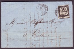 LOIRE - LAC - Tàd T15 LE CHAMBON FEUGEROLLES (1862) Sur Chiffre Taxe N° 2 IIB (10c Noir Type 2B) Pour Crallaine (84) - Taxes