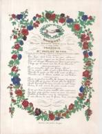 """BRUGGE-BRUGES""""BOUQUET-MARIAGE 22 OCTOBRE 1844-MINNEDICHT-HUWELIJK 22 OKTOBER 1844""""LITH.DAVELY-225/165MM - Cartes Porcelaine"""