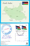 SOUTH SUDAN Postally Used 2019 Map Of South Sudan Postcard, 2x 50 SSP Overprint On National Flag Südsudan Soudan Du Sud - Südsudan