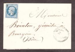 LSC - 23 Avril 1862 - T22 Vénissieux (Rhône) Pour Bourgoin (Isère) - PC 4386 Sur 14A - Verso T15 Lyon, Bourgoin - 1849-1876: Période Classique