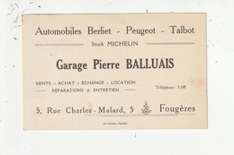 FOUGERES - GARAGE AUTOMOBILES BERLIET PEUGEOT TALBOT / STOCK MICHELIN - PIERRE BALLUAIS - 5 RUE CHARLES MALARD - 35 - Cartes De Visite