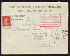 FRANCE (Croix Rouge) Guerre 1914/18. Timbre N°138 Obl. Sur Lettre En 1915 De Bagnols Sur Cèze (dpt 30) - Croix Rouge