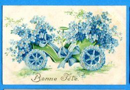 OV1 926, Relief, Voiture, Car, Fleurs Bleues, Circulée 1909 - Holidays & Celebrations