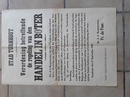 BELGIË BELGIQUE UITHANG AFFICHE STAD  TURNHOUT 1STE WERELDOORLOG AFMETINGEN 62 CM  OP  42 CM - Historical Documents