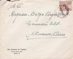 DR. ALFREDO M CARRIO. ARGENTINE ENVELOPE, CIRCULEE DE SANTA FE A BUENOS AIRES ANNEE 1943  -LILHU - Argentina