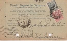 Villanova Di Bagnocavallo. 1922. Annullo Guller Su Cartolina Postale PUBBLICITARIA - Storia Postale