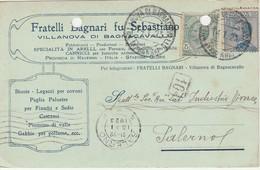 Villanova Di Bagnocavallo. 1923. Annullo Guller Su Cartolina Postale PUBBLICITARIA - Storia Postale