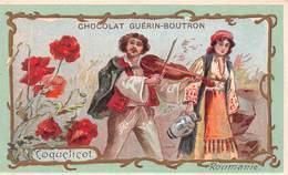 Chromo - Chocolat GUERIN-BOUTRON, Paris - Fleurs - Coquelicot - Roumanie - Violon - Tzigane - Bohémienne - Guerin Boutron
