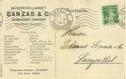 1915 Schweiz Perfin Aktiengesellschaft Danzas & Co Auf Karte - Perforiert/Gezähnt
