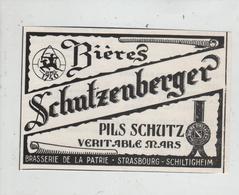 Strasbourg Schiltigheim Brasserie De La Patrie Bières Schutzenberger Pils Schutz Véritable Mars - Publicités
