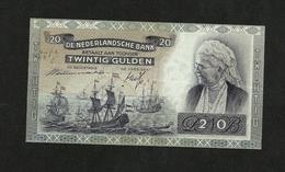 NETHERLANDS 20 GULDEN 1941 WITH OVP 19-03-1941 PICK #55 VF+ RARE LOW 000... - 20 Gulden