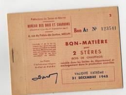 B11  1945.carnet Neuf De Bon Matiere Seine Et Marne - Oorlog 1939-45