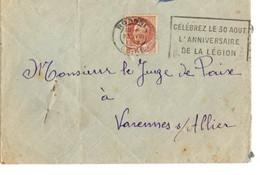 B11  23 08 1942 Marque Anniversare De La Légion - Marcophilie (Lettres)