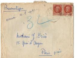 B11  07 09 1944 Lettre + Courrier En Pneumatique - Marcophilie (Lettres)
