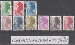 France Type Liberté (1982) Y/T Séries 2219/2221 Et 2239/2244 Oblitérés (lot 1) - 1982-90 Liberté De Gandon
