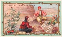 Chromo - Chocolat GUERIN-BOUTRON, Paris - Fleurs - Myrthe - Grèce - Joueurs De Dés - Guerin Boutron