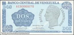 TWN - VENEZUELA 69 - 2 Bolivares 5.10.1989 Prefix AC UNC - Venezuela