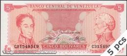 TWN - VENEZUELA 70b - 5 Bolivares 21.9.1989 DEALERS LOT X 5 - Prefix C UNC - Venezuela