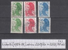 France Type Liberté (1984-85) Y/T Séries 2318/2320 Et 2375/2377 Oblitérés (lot1) - 1982-90 Liberté De Gandon